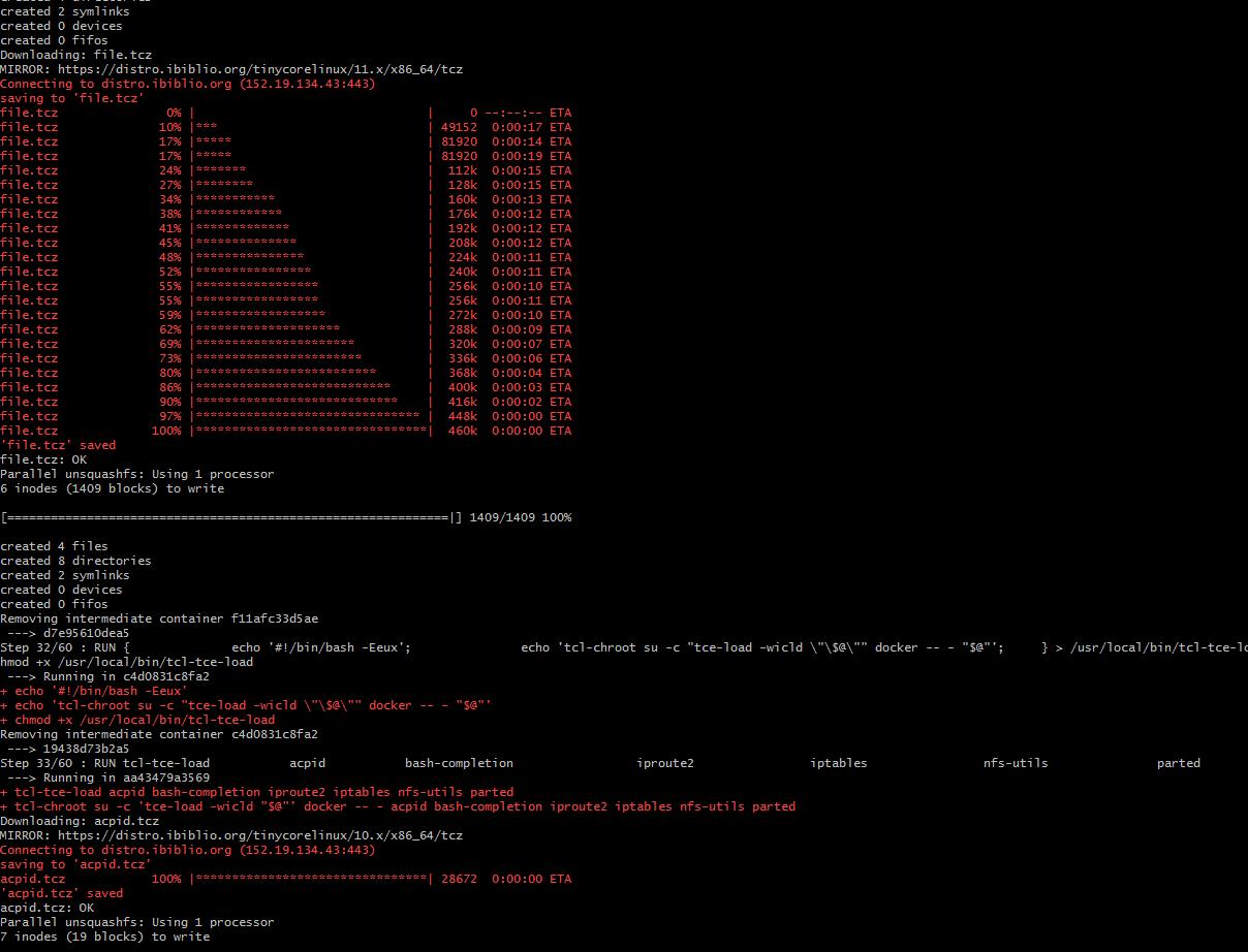 Windows 7 + Tiny Linux 4.19 + XFS + Vmware Workstation 15 (PRO) 下篇dockerの奥义