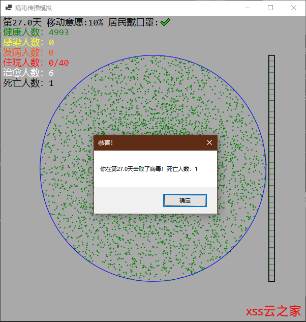 我也写了个疫情传播仿真程序