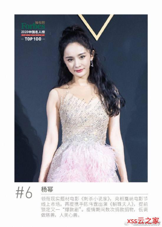 福布斯发布2020年中国名人榜TOP100 周杰伦排第四插图(6)