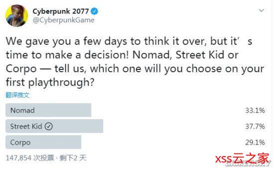 《赛博朋克2077》票选首次游玩角色出身 街头小子最受欢迎