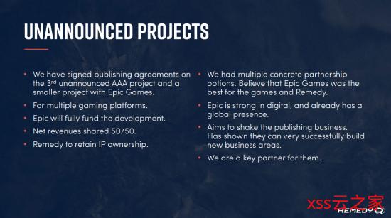 Remedy正开发一款长期服务型游戏 和两款未公开项目