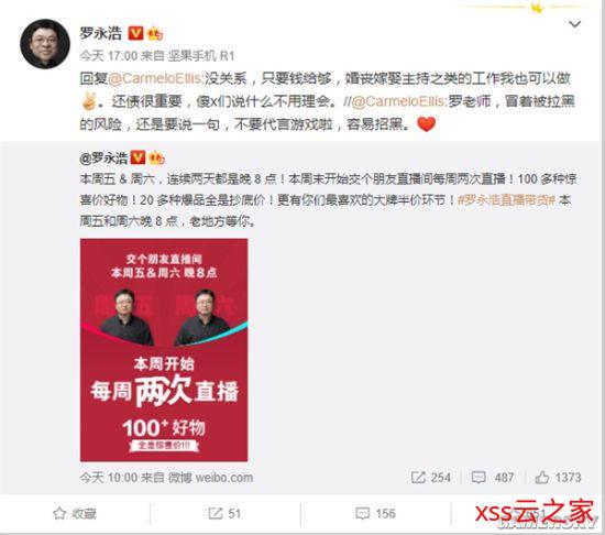 网友劝不要代言游戏 罗永浩:钱给够 婚丧嫁娶主持都可做插图