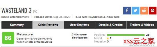 CRPG《废土3》媒体评分出炉 M站均分86普遍好评