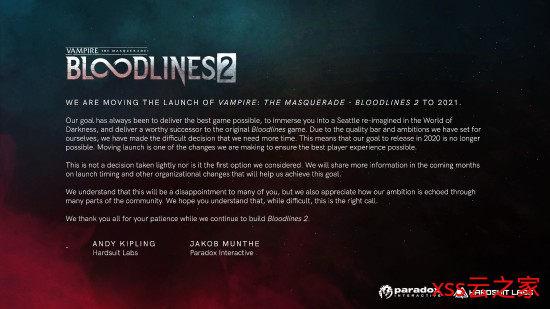 《吸血鬼:避世血族2》再度跳票 改为2021年发售插图